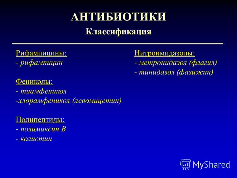 6 АНТИБИОТИКИКлассификация Рифампицины:Нитроимидазолы: - рифампицин- метронидазол (флагил) - тинидазол (фазижин) Фениколы: - тиамфеникол -хлорамфеникол (левомицетин) Полипептиды: - полимиксин В - колистин