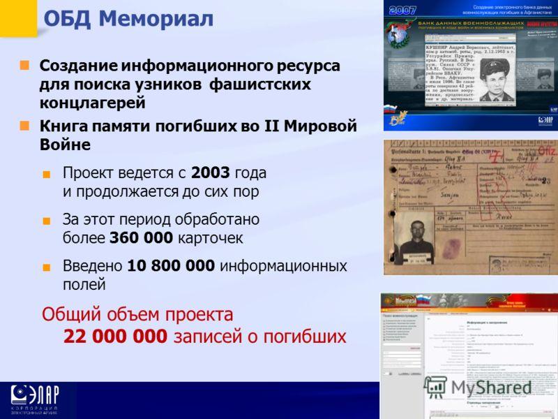 16 ОБД Мемориал Создание информационного ресурса для поиска узников фашистских концлагерей Книга памяти погибших во II Мировой Войне Проект ведется с 2003 года и продолжается до сих пор За этот период обработано более 360 000 карточек Введено 10 800