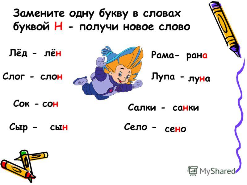Замените одну букву в словах буквой Н - получи новое слово Лёд -лён Слог -слон Сок -сон Сыр -сын Рама-рана Лупа - луна Салки -санки Село - сено