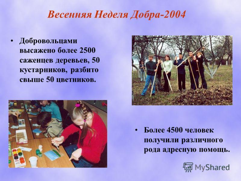 Весенняя Неделя Добра-2004 Добровольцами высажено более 2500 саженцев деревьев, 50 кустарников, разбито свыше 50 цветников. Более 4500 человек получили различного рода адресную помощь.