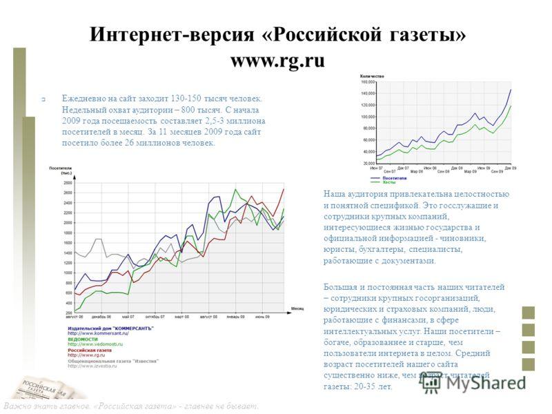 Важно знать главное. «Российская газета» - главнее не бывает. Интернет-версия «Российской газеты» www.rg.ru Наша аудитория привлекательна целостностью и понятной спецификой. Это госслужащие и сотрудники крупных компаний, интересующиеся жизнью государ