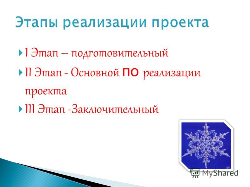 I Этап – подготовительный II Этап - Основной по реализации проекта III Этап -Заключительный