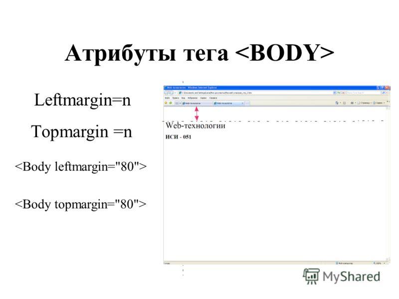 Атрибуты тега Leftmargin=n Тopmargin =n