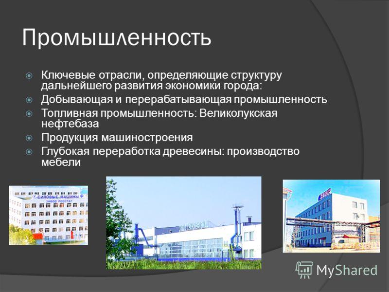 Промышленность Ключевые отрасли, определяющие структуру дальнейшего развития экономики города: Добывающая и перерабатывающая промышленность Топливная промышленность: Великолукская нефтебаза Продукция машиностроения Глубокая переработка древесины: про