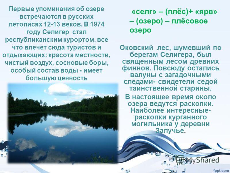 Первые упоминания об озере встречаются в русских летописях 12-13 веков. В 1974 году Селигер стал республиканским курортом. все что влечет сюда туристов и отдыхающих: красота местности, чистый воздух, сосновые боры, особый состав воды - имеет большую