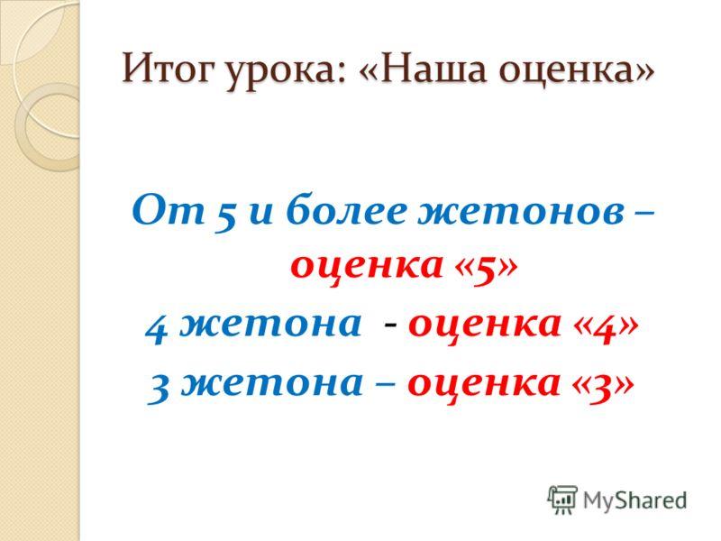 Итог урока: «Наша оценка» От 5 и более жетонов – оценка «5» 4 жетона - оценка «4» 3 жетона – оценка «3»