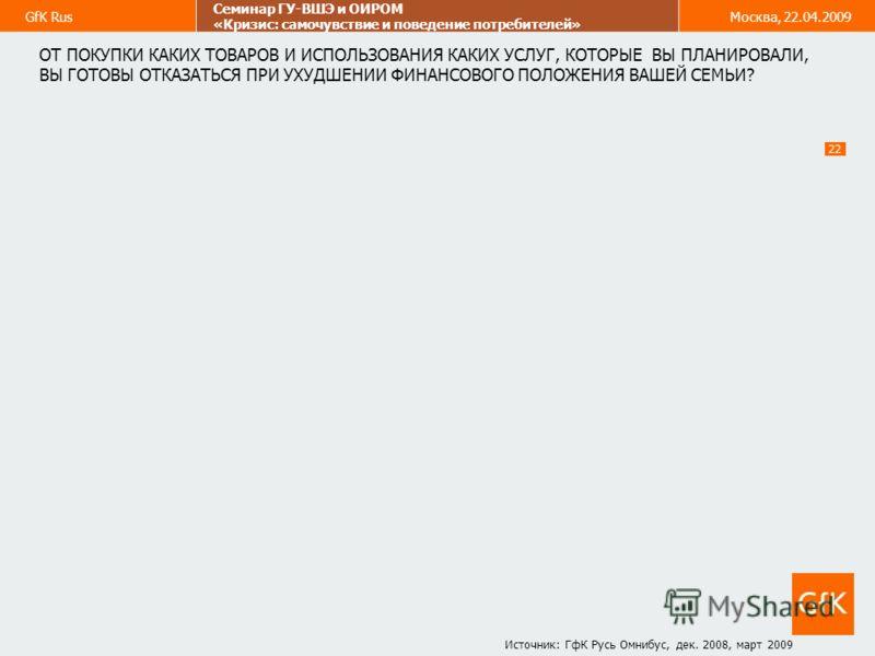GfK Rus Семинар ГУ-ВШЭ и ОИРОМ «Кризис: самочувствие и поведение потребителей» Москва, 22.04.2009 22 ОТ ПОКУПКИ КАКИХ ТОВАРОВ И ИСПОЛЬЗОВАНИЯ КАКИХ УСЛУГ, КОТОРЫЕ ВЫ ПЛАНИРОВАЛИ, ВЫ ГОТОВЫ ОТКАЗАТЬСЯ ПРИ УХУДШЕНИИ ФИНАНСОВОГО ПОЛОЖЕНИЯ ВАШЕЙ СЕМЬИ? И