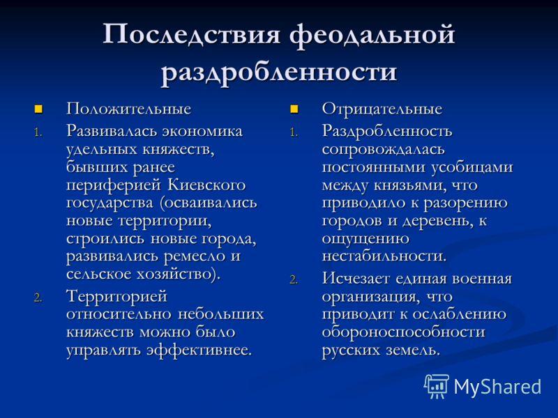 Последствия феодальной раздробленности Положительные Положительные 1. Развивалась экономика удельных княжеств, бывших ранее периферией Киевского государства (осваивались новые территории, строились новые города, развивались ремесло и сельское хозяйст