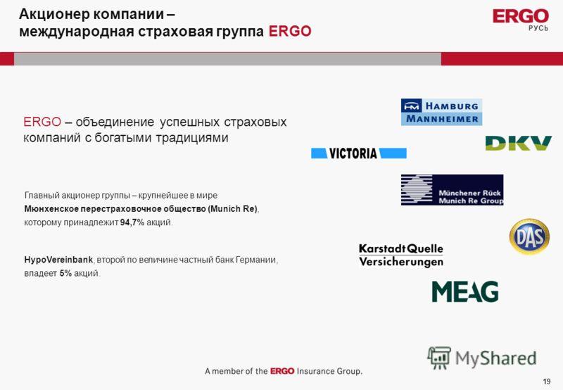 19 Акционер компании – международная страховая группа ERGO ERGO – объединение успешных страховых компаний с богатыми традициями Главный акционер группы – крупнейшее в мире Мюнхенское перестраховочное общество (Munich Re), которому принадлежит 94,7% а