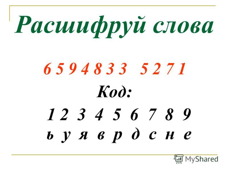 Расшифруй слова 6 5 9 4 8 3 3 5 2 7 1 Код: 1 2 3 4 5 6 7 8 9 ь у я в р д с н е