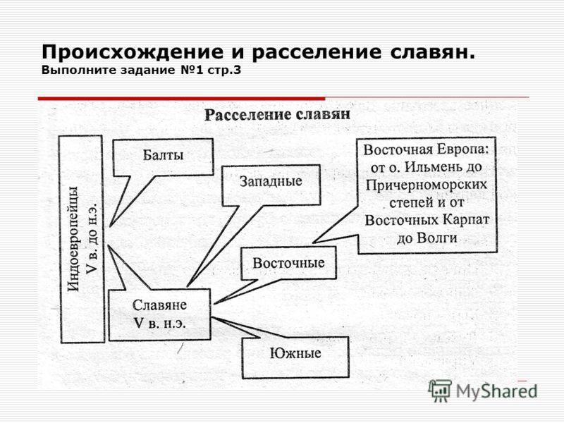 Происхождение и расселение славян. Выполните задание 1 стр.3