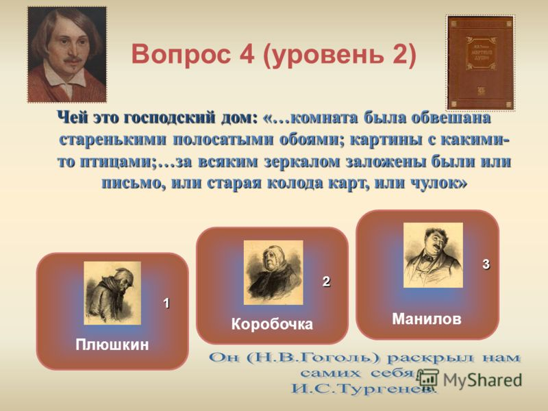 Вопрос 4 (уровень 2) Чей это господский дом: «…комната была обвешана старенькими полосатыми обоями; картины с какими- то птицами;…за всяким зеркалом заложены были или письмо, или старая колода карт, или чулок» Коробочка Плюшкин Манилов ОШИБКА! Этот т
