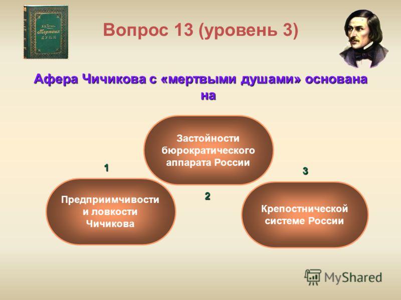 Вопрос 13 (уровень 3) Афера Чичикова с «мертвыми душами» основана на Застойности бюрократического аппарата России Крепостнической системе России Предприимчивости и ловкости Чичикова1 2 3