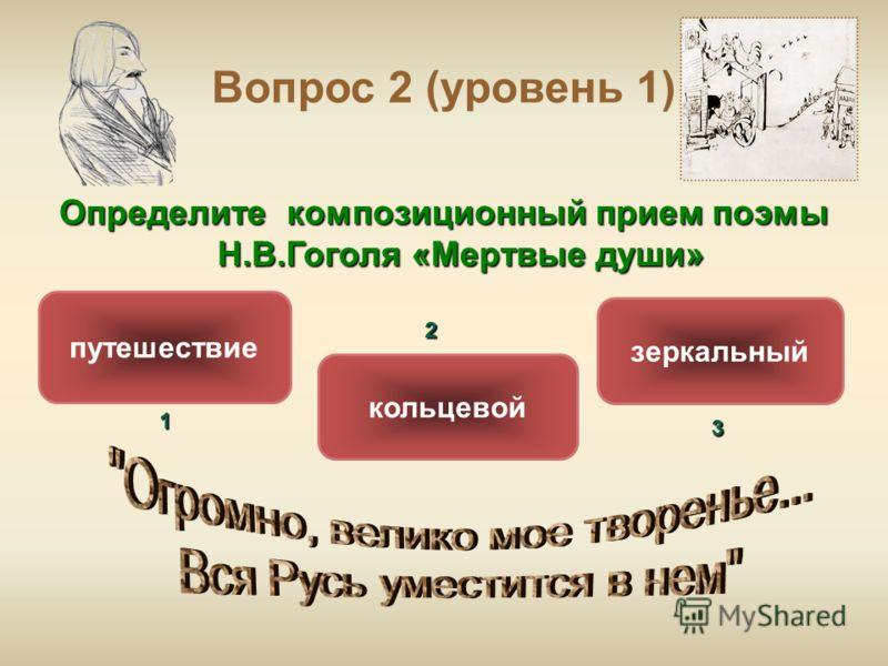 Вопрос 2 (уровень 1) Определите композиционный прием поэмы Н.В.Гоголя «Мертвые души» путешествие кольцевой зеркальный ОШИБКА! Этот текст выводится при ошибке. ПРАВИЛЬНО! Этот текст выводится при правильном ответе.1 2 3