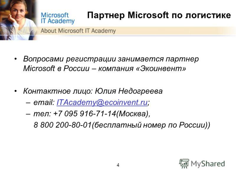4 Партнер Microsoft по логистике Вопросами регистрации занимается партнер Microsoft в России – компания «Экоинвент» Контактное лицо: Юлия Недогреева –email: ITAcademy@ecoinvent.ru;ITAcademy@ecoinvent.ru –тел: +7 095 916-71-14(Москва), 8 800 200-80-01