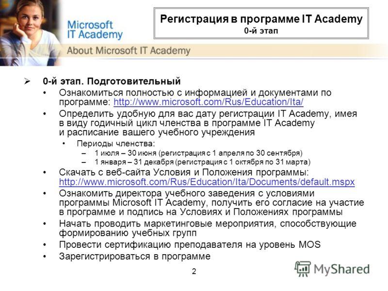 2 Регистрация в программе IT Academy 0-й этап 0-й этап. Подготовительный Ознакомиться полностью с информацией и документами по программе: http://www.microsoft.com/Rus/Education/Ita/http://www.microsoft.com/Rus/Education/Ita/ Определить удобную для ва