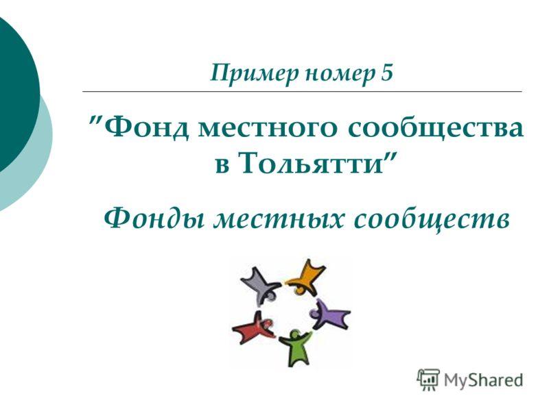 Пример номер 5 Фонд местного сообщества в Тольятти Фонды местных сообществ