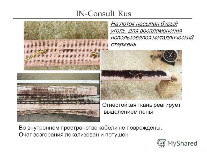 IN-Consult Rus На лоток насыпан бурый уголь, для воспламенения использовался металлический стержень Огнестойкая ткань реагирует выделением пены Во вну