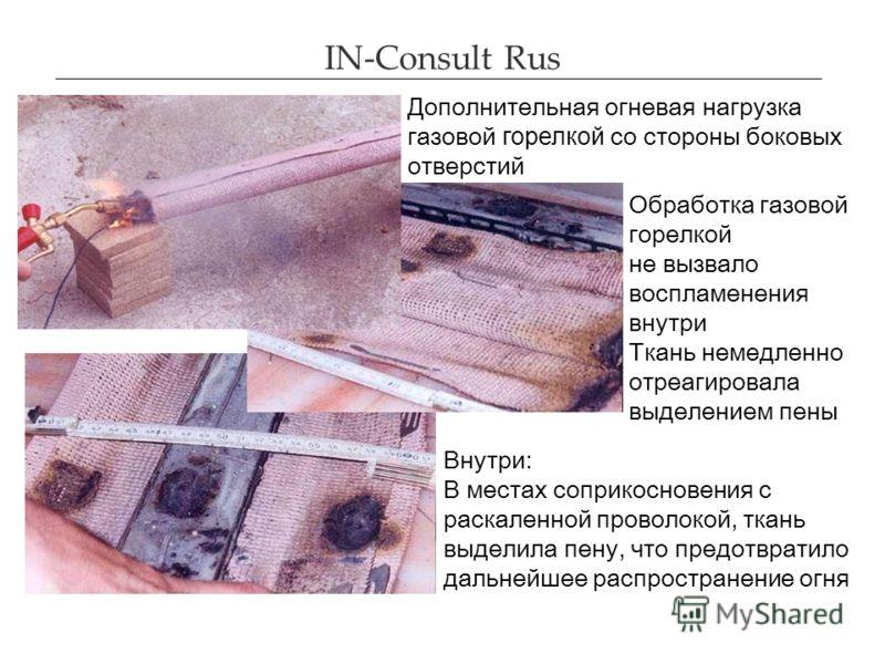 IN-Consult Rus Дополнительная огневая нагрузка газовой горелкой со стороны боковых отверстий Обработка газовой горелкой не вызвало воспламенения внутр