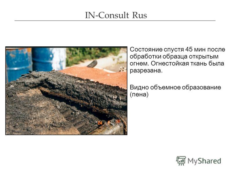 IN-Consult Rus Состояние спустя 45 мин после обработки образца открытым огнем. Огнестойкая ткань была разрезана. Видно объемное образование (пена)