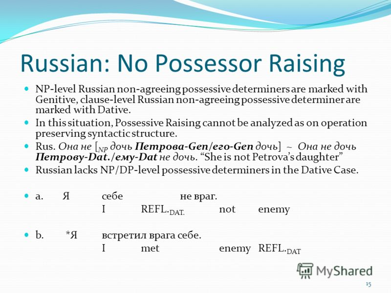 Russian: No Possessor Raising NP-level Russian non-agreeing possessive determiners are marked with Genitive, clause-level Russian non-agreeing possessive determiner are marked with Dative. In this situation, Possessive Raising cannot be analyzed as o