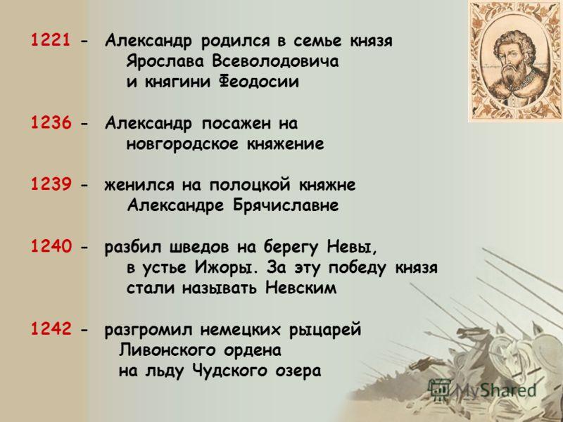 1221 1221 - Александр родился в семье князя Ярослава Всеволодовича и княгини Феодосии 1236 - Александр посажен на новгородское княжение 1239 - женился на полоцкой княжне Александре Брячиславне 1240 - разбил шведов на берегу Невы, в устье Ижоры. За эт