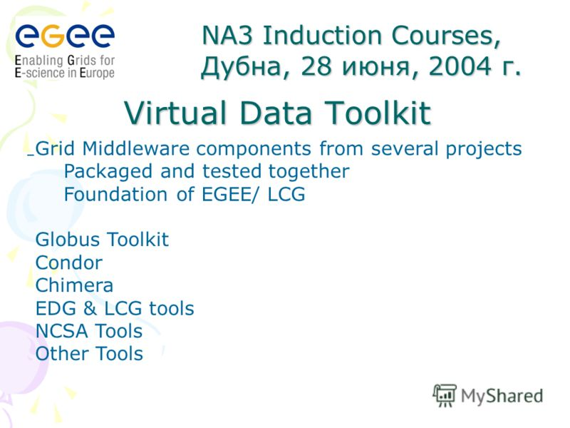Virtual Data Toolkit – NA3 Induction Courses, Дубна, 28 июня, 2004 г. Grid Middleware components from several projects Packaged and tested together Foundation of EGEE/ LCG Globus Toolkit Condor Chimera EDG & LCG tools NCSA Tools Other Tools