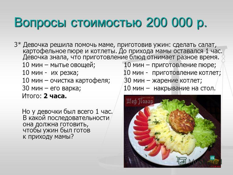 Вопросы стоимостью 200 000 р. 3* Девочка решила помочь маме, приготовив ужин: сделать салат, картофельное пюре и котлеты. До прихода мамы оставался 1 час. Девочка знала, что приготовление блюд отнимает разное время. 10 мин – мытье овощей; 10 мин – пр