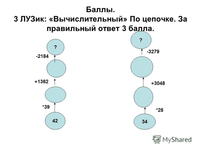 Баллы. 3 ЛУЗик: «Вычислительный» По цепочке. За правильный ответ 3 балла. 42 34 *39 +1362 ? -2184 *28 +3048 ? -3279