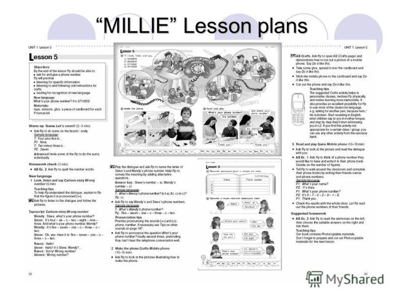 MILLIE Lesson plans