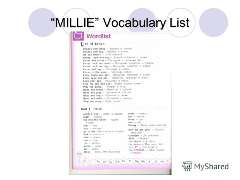 MILLIE Vocabulary List