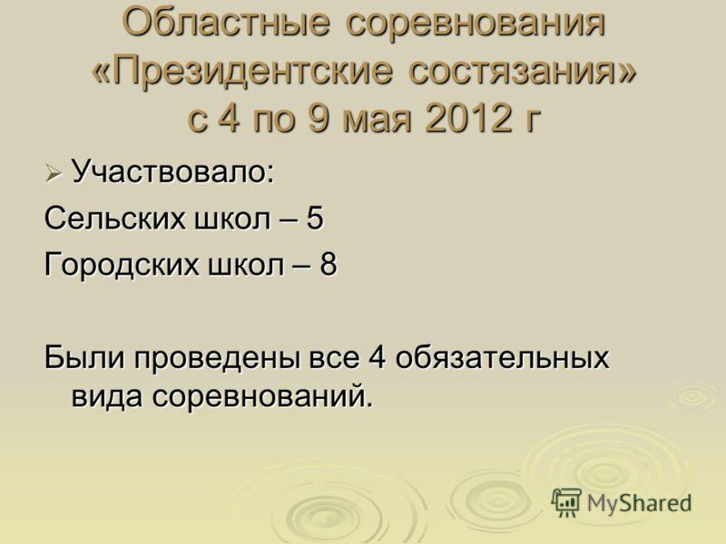 Областные соревнования «Президентские состязания» с 4 по 9 мая 2012 г Участвовало: Участвовало: Сельских школ – 5 Городских школ – 8 Были проведены все 4 обязательных вида соревнований.