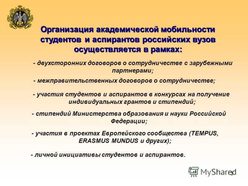 3 Организация академической мобильности студентов и аспирантов российских вузов осуществляется в рамках: - двухсторонних договоров о сотрудничестве с зарубежными партнерами; - участия в проектах Европейского сообщества (TEMPUS, ERASMUS MUNDUS и други