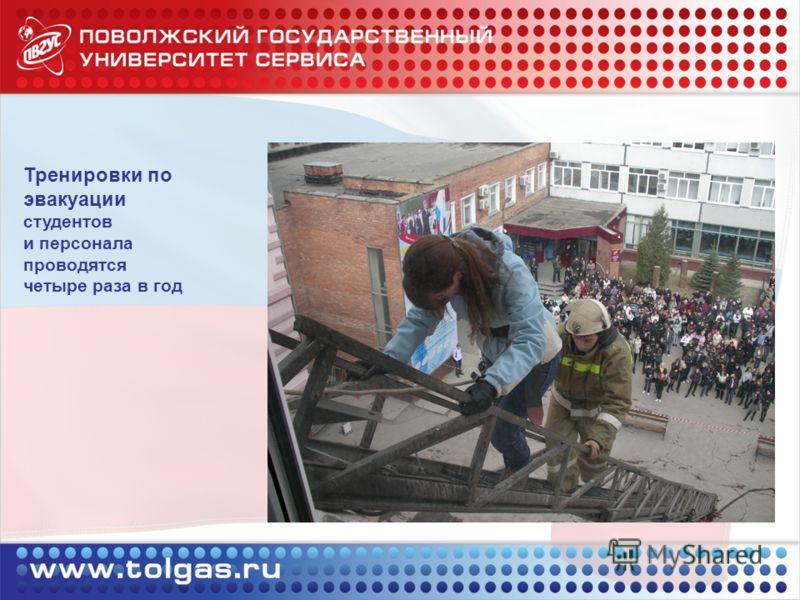 Тренировки по эвакуации студентов и персонала проводятся четыре раза в год