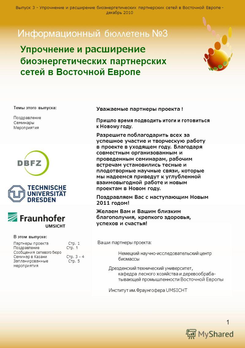 Выпуск 3 - Упрочнение и расширение биоэнергетических партнерских сетей в Восточной Европе - декабрь 2010 1 Упрочнение и расширение биоэнергетических партнерских сетей в Восточной Европе Информационный бюллетень 3 Темы этого выпуска: Поздравление Семи