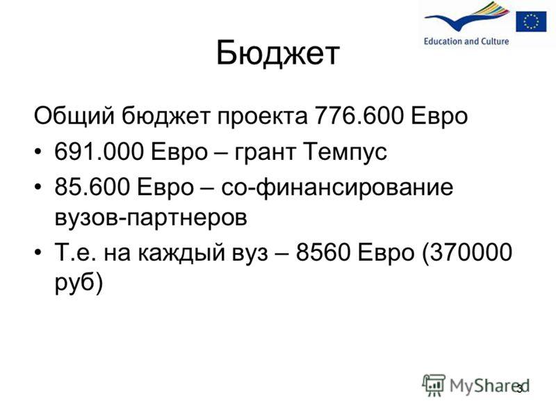 Бюджет Общий бюджет проекта 776.600 Евро 691.000 Евро – грант Темпус 85.600 Евро – со-финансирование вузов-партнеров Т.е. на каждый вуз – 8560 Евро (370000 руб) 3