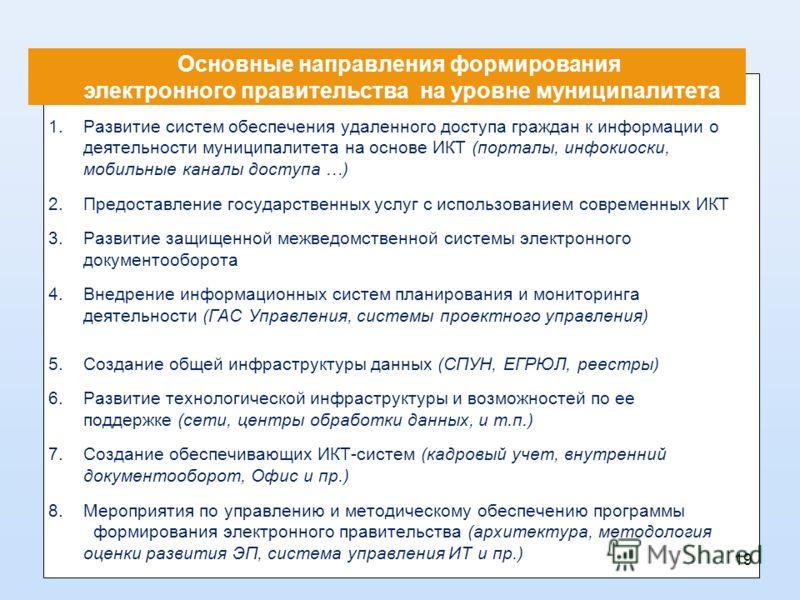 Основные направления формирования электронного правительства на уровне муниципалитета 1.Развитие систем обеспечения удаленного доступа граждан к информации о деятельности муниципалитета на основе ИКТ (порталы, инфокиоски, мобильные каналы доступа …)