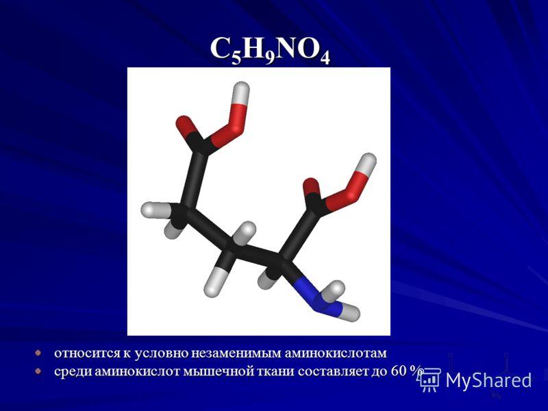 относится к условно незаменимым аминокислотам среди аминокислот мышечной ткани составляет до 60 % C5H9NO4