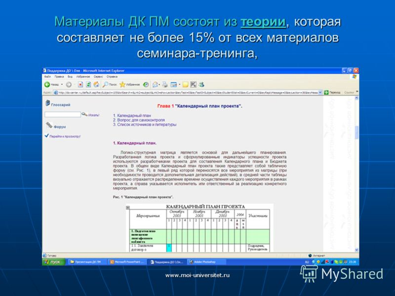 www.moi-universitet.ru Материалы ДК ПМ состоят из теории, которая составляет не более 15% от всех материалов семинара-тренинга,
