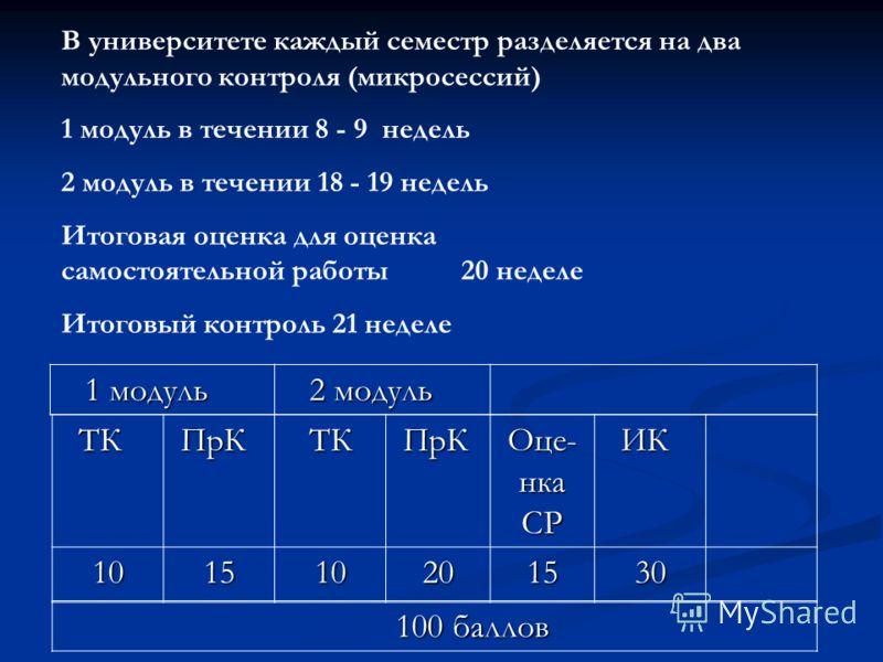 В университете каждый семестр разделяется на два модульного контроля (микросессий) 1 модуль в течении 8 - 9 недель 2 модуль в течении 18 - 19 недель Итоговая оценка для оценка самостоятельной работы 20 неделе Итоговый контроль 21 неделе ТК ТК ПрК ПрК