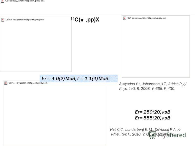 14 С(,pp)X Aksyutina Yu., Johansson H.T., Adrich P. // Phys. Lett. B. 2008. V. 666. P. 430. Hall C.C., Lunderberg E. M., DeYoung P. A. // Phys. Rev. C. 2010. V. 81. P. 021302(R). Er = 4.0(2) МэВ, Γ = 1.1(4) МэВ. Er= 250(20) кэВ Er= 555(20) кэВ