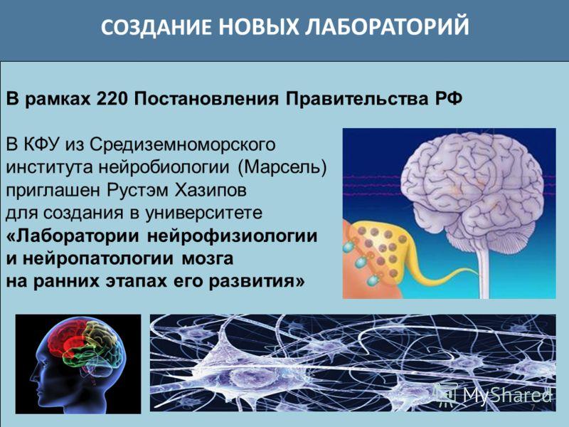 СОЗДАНИЕ НОВЫХ ЛАБОРАТОРИЙ 7 В рамках 220 Постановления Правительства РФ В КФУ из Средиземноморского института нейробиологии (Марсель) приглашен Рустэм Хазипов для создания в университете «Лаборатории нейрофизиологии и нейропатологии мозга на ранних