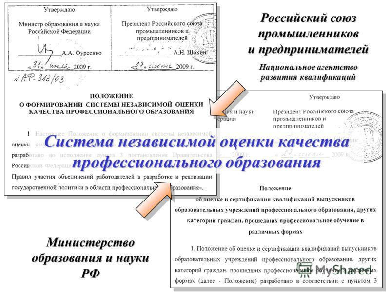 Российский союз промышленников и предпринимателей Национальное агентство развития квалификаций Министерство образования и науки РФ Система независимой оценки качества профессионального образования