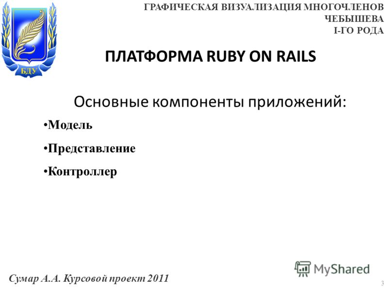 ПЛАТФОРМА RUBY ON RAILS Основные компоненты приложений: 3 Модель Представление Контроллер Сумар А.А. Курсовой проект 2011 ГРАФИЧЕСКАЯ ВИЗУАЛИЗАЦИЯ МНОГОЧЛЕНОВ ЧЕБЫШЕВА I-ГО РОДА