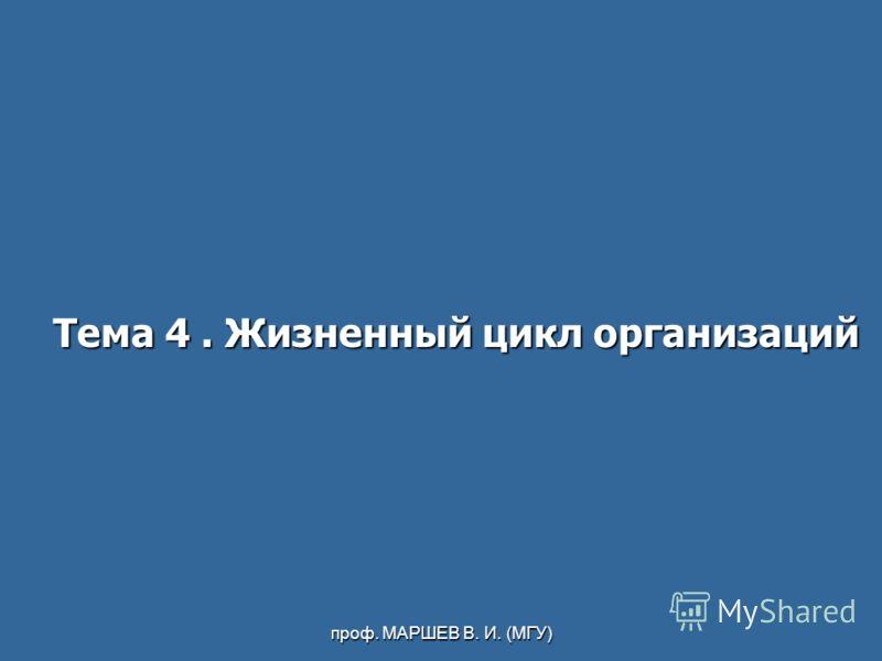 проф. МАРШЕВ В. И. (МГУ) Тема 4. Жизненный цикл организаций