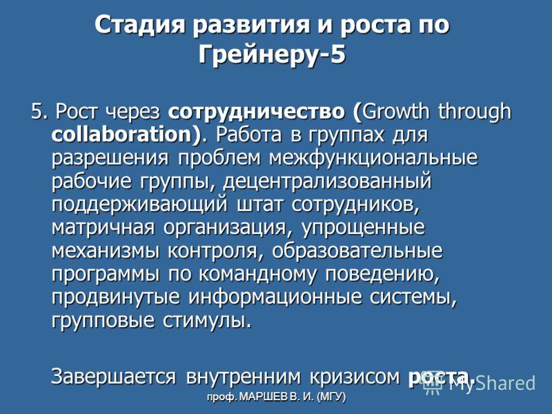 проф. МАРШЕВ В. И. (МГУ) Стадия развития и роста по Грейнеру-5 5. Рост через сотрудничество (Growth through collaboration). Работа в группах для разрешения проблем межфункциональные рабочие группы, децентрализованный поддерживающий штат сотрудников,