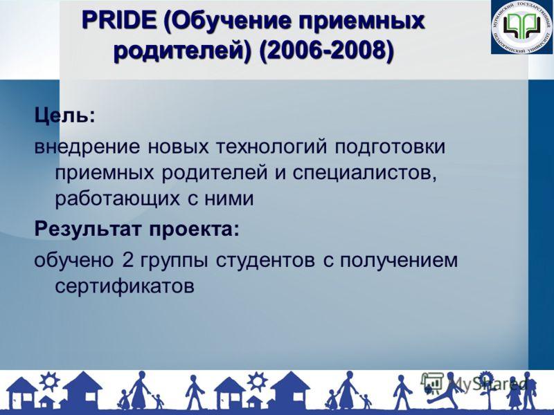 PRIDE (Обучение приемных родителей) (2006-2008) Цель: внедрение новых технологий подготовки приемных родителей и специалистов, работающих с ними Результат проекта: обучено 2 группы студентов с получением сертификатов