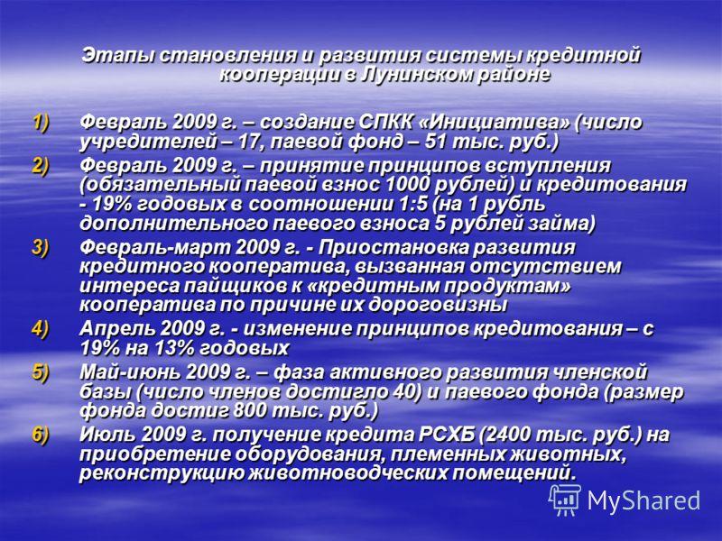 Этапы становления и развития системы кредитной кооперации в Лунинском районе 1)Февраль 2009 г. – создание СПКК «Инициатива» (число учредителей – 17, паевой фонд – 51 тыс. руб.) 2)Февраль 2009 г. – принятие принципов вступления (обязательный паевой вз