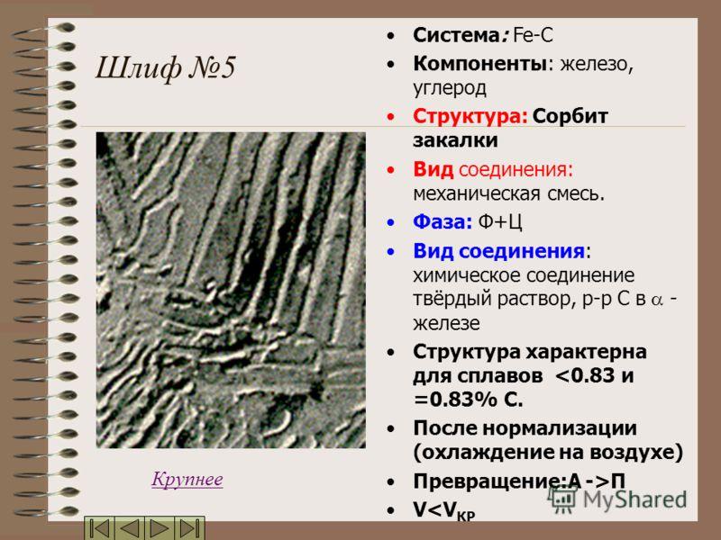 Шлиф 5 Система: Fe-C Компоненты: железо, углерод Структура: Сорбит закалки Вид соединения: механическая смесь. Фаза: Ф+Ц Вид соединения: химическое соединение твёрдый раствор, р-р С в - железе Структура характерна для сплавов П V