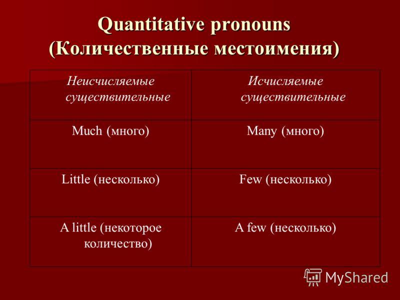 Quantitative pronouns (Количественные местоимения) Неисчисляемые существительные Исчисляемые существительные Much (много)Many (много) Little (несколько)Few (несколько) A little (некоторое количество) A few (несколько)